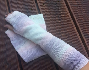 Womens arm warmers Wool hand warmers Wrist warmers Pink fingerless gloves Knit hand warmers Long arm warmers Warm winter