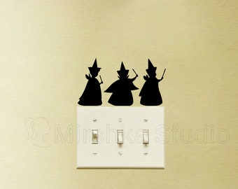 Three Good Fairies Light Switch Stickers - Sleeping Beauty Wall Decals - Flora, Fauna, and Merryweather Laptop Decals - Fairy Room Decor
