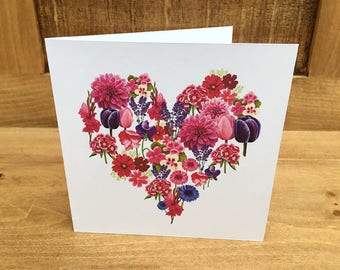 Flower heart card, square card featuring flowers in a heart.