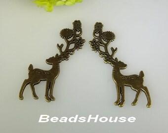20%off  2pcs Antique Bronze Huge Unique Deer Charm / Pendant,20x70mm