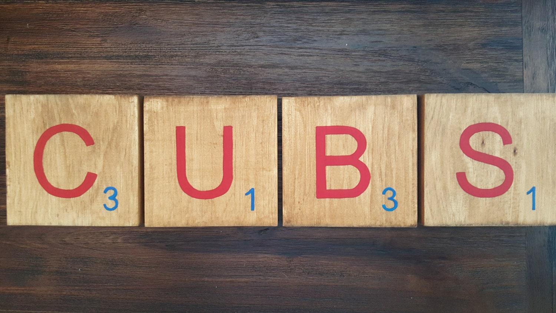 Chicago Cubs sign Cubbies giant scrabble tiles Baseball