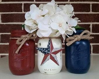 4th of July Mason Jar Set, Patriotic Jars, Red White and Blue Decor