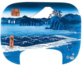Hand-cut wooden jigsaw puzzle. SHICHIRI BEACH WOODBLOCK print. Wood, collectible. Bella Puzzles.