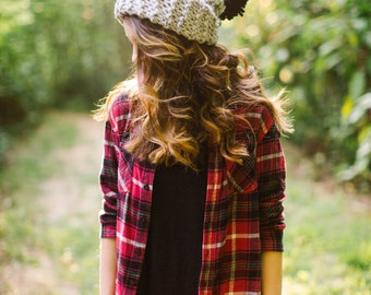 Fold Over Pom Hat in Grey with Large Black Pom // Pom Pom Slouchy Hat // Grey Knit Winter Hat