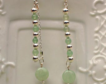 Aventurine Earrings, Green Aventurine Earrings, Dainty Earrings, Romantic Jewelry