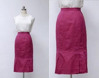 Vintage 80s Magenta High Waisted Pleated Pencil Skirt | Japanese Vintage High Waisted Straight Work Skirt | Knee Length Skirt XS