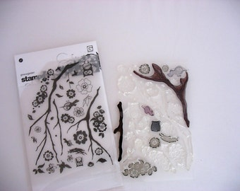 USED Basic Grey Grow A Garden Clear Stamp Set~DESTASH Rubber Stamps~Used rubber stamps~used acrylic planner stamp set