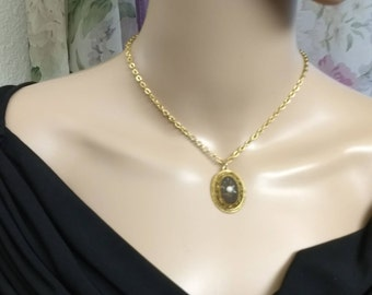 SPHINX Victorian Revival Pendant Necklace Signed ~ Victorian Style Vintage Gold Black Pearl Necklace ~ British Made SPHINX Signed Necklace