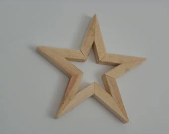 Rustic Small 5 pointed wooden star Hand made from reclaimed wood