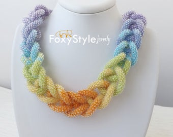 multicolor statement necklace modern everyday necklace spring bib necklace yellow orange necklace bead crochet rope necklace colorful boho