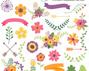 Flower Collection Clipart Set - flowers, buds, arrows, leaves, banners, clip art set - personal use, small commercial use, instant download