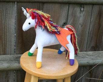 Rainbow Prancer Pegacorn Fantasy Plush ~ Eco Friendly Stuffed Animal Toy, Pegasus, Lisa Frank, Flying Unicorn, Rainbow Unicorn Plushies