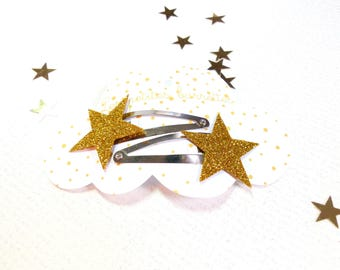 The gold glitter star pins