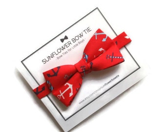 Anchors Bow Tie- Nautical Boys Bow Tie - Bow Tie for Boys - Men Bow Tie - Red Bow Tie - Toddler Bow Tie - Little Boys Bow Tie