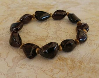 Large Garnet Nuggets Gemstone Stretch Bracelet with Antiqued Gold Plated Brass Accents
