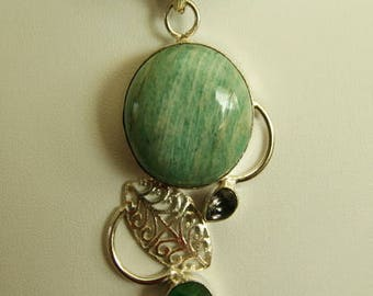 Amazing Amazonite Silver Pendant Necklace