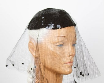 ON SALE 1940s Hat // Black Sequin Skull Cap with Veil