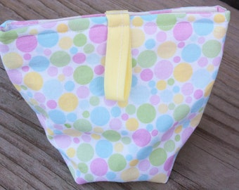 Re-usable snack bag, cotton bag, dry snack bag, cute pouch, velcro bag