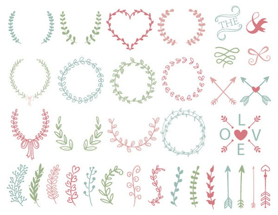 Digital Laurel Wreath Clip Art Hand Drawn Laurel Wreath Leaf