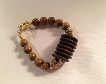 Brown Bracelet - Wood Jewelry - Gold Jewellery -  Chunky - Neutral - Earth Tones - Fashion