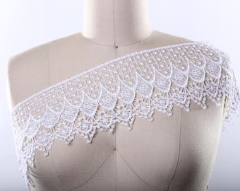 """White or Ivory Venice Lace Trim 4.5"""" in Width. Dainty and Durable. Vintage inspired/ Bridal Lace Trim PRISCILLA"""