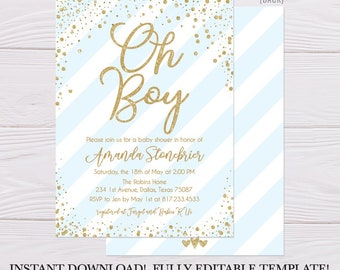 Blue Vertical Stripe Baby Brunch Invitation, Printable Baby Shower Invitation, Baby Shower Invitation Printable, Baby Shower Invite Download