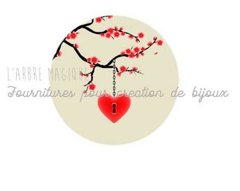 Glass cabochon 25 mm heart red tree branch ref 581