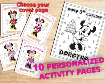 Minnie Mouse Birthday Coloring Pages / 10 Pages / Party favors / Printable / Digital / PDF