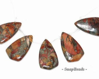 Picasso Jasper With Pyrite Gemstone Loose Beads Graduated Set 5 Beads (90143834-108)