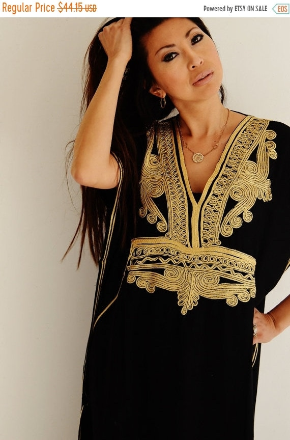 Kaftan Sale 20% Off/ Kaftan Black with Gold Marrakech Resort Caftan Kaftan -  beach cover ups, resortwear,loungewear, maxi dresses, birthday
