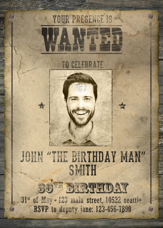 Wanted Poster Birthday Invitation Western Invitation