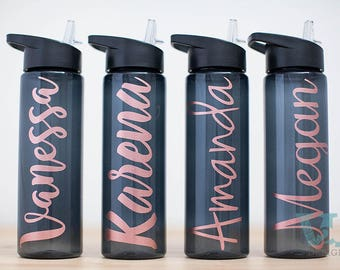 Custom Water Bottle with ROSE GOLD name - Personalized Water Bottle - Personalized Bottles  - Bridal Party Gifts - Customized Water Bottle