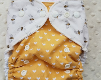 One Size, cloth diaper cover, cotton over PUL with AI2 option, Bees with white hearts on mustard yellow