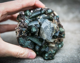 Green Tourmaline and Indicolite Cluster Specimen with Quartz - Green Tourmaline Blue Tourmaline Cluster - Indicolite - Green tourmaline