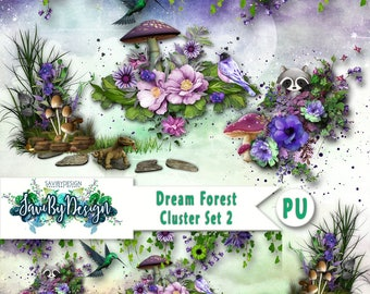 Digital Scrapbooking Clusters set of 4 DREAM FOREST SEt 2 premade embellishment png clusters to make immediate scrap page