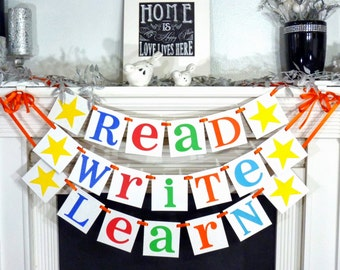 Teacher Gift / Back to School / Read, Write & Learn / Classroom Decoration Signs / Photo Prop / Library Decor / Reading Nook