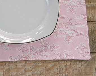 Pink and White Toile Placemats Set of 4 Lined Mats Tea Party Linens, French Country, Custom Order, Table Mats, Housewarming Gift