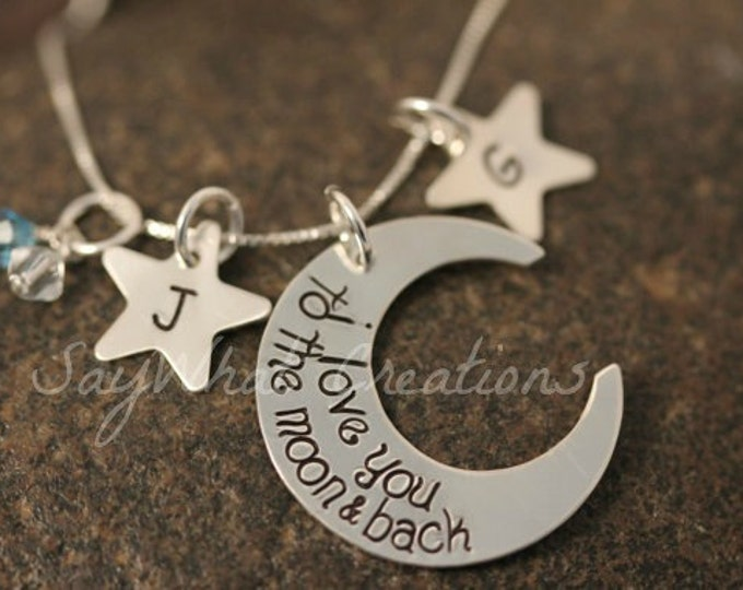 I Love You To The Moon Sterling Silver Moon Shaped Necklace Custom Hand Stamped with TWO Star Initials and Birthstones