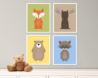 "Baby Woodland Nursery Art Fox, Bear, Raccoon and Moose Nursery Art Print Set, Baby Nursery Art Set of 4-8x10"" Digital Instant Download -S250"