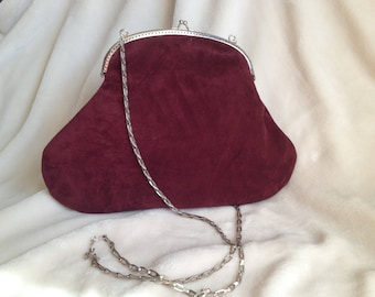Handbag a purse, medium, wine Burgundy nubuck leather, silver metal clasp