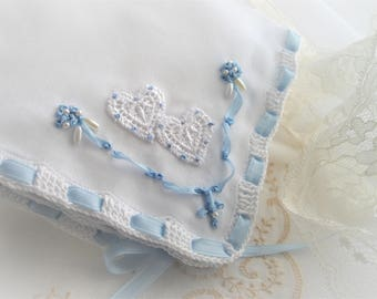 Wedding Handkerchief Something Blue Shower Gift Silk Ribbon Embroidery Vintage Inspired Crocheted  Designed by Marilyn handcraftUSA Etsy