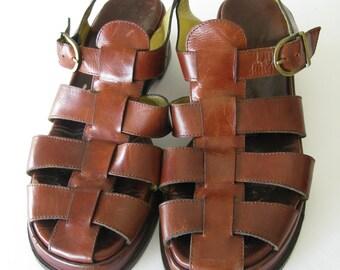 Vintage 80's/90's Joan & David Brown  Leather Woven Huarache Sandals ~ Shoes Sz 8.5 M