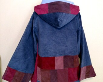 All Corduroy Hippie Patchwork Hoodie Peasant Tunic Shirt/Top with Long Bell Sleeves for Men or Women