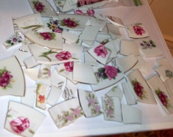 Broken China, Mosaic Supplies, Mosaic Pieces, handcut, Roses , Floral China