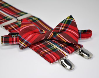 Men's Red Plaid Bow Tie and Suspender Set - Stewart Plaid -  Red and Green Plaid Bowtie