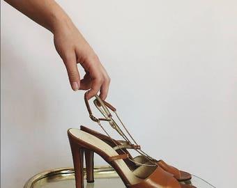 Vintage Chestnut Italian Leather Heels by Barefoot Originals 8.5/9N