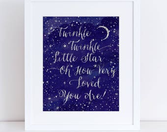 Nursery Room-INSTANT DOWNLOAD-Anniversary-Inspirational-Motivational, Stars, Wall Hanging, Twinkle Twinkle Little Star