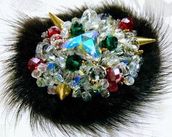 Natural fur and Swarovski beads brooch