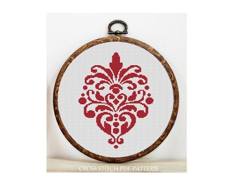 Red Motif-Cross Stitch Pattern-Modern Sampler-Pdf-Instant Download