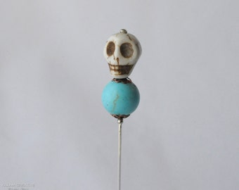 Skull Stick Pin, Turquoise Copper, 3 Inch Hat Pin, Scarf Pin, Lapel Pin KC0522
